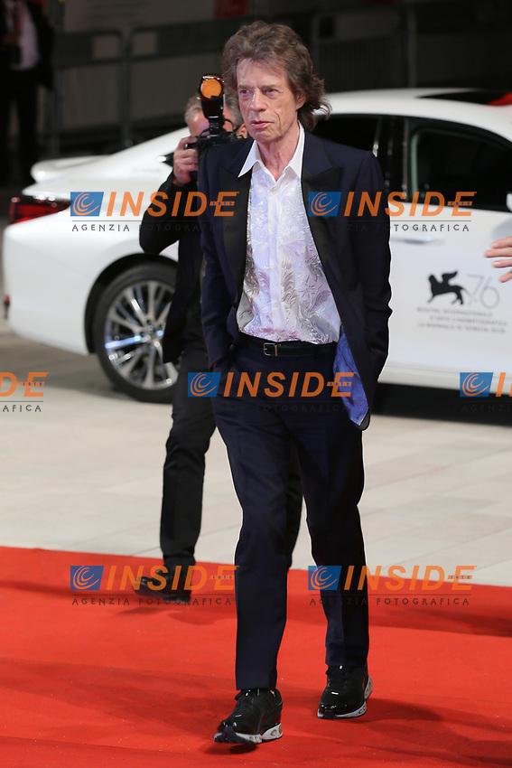 "VENICE, ITALY - SEPTEMBER 07: Mick Jagger walks the red carpet ahead of the ""The Burnt Orange Heresy"" during the 76th Venice Film Festival at Sala Grande on September 07, 2019 in Venice, Italy. (Photo by Mark Cape/Insidefoto)<br /> Venezia 07/09/2019"