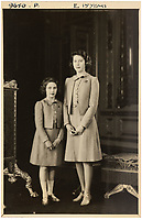 BNPS.co.uk (01202 558833)<br /> Pic: MarcusAdams/ChiswickAuctions/BNPS<br /> <br /> 1941 - The Royal sisters at Buckingham Palace during WW2 - (Princess Elizabeth aged 15)<br /> <br /> Charming childhood photos of Princess Elizabeth and Princess Margaret have come to light, including a previously unseen image of the future Queen in a kilt.<br /> <br /> The portraits, taken by acclaimed British society photographer Marcus Adams, capture the future Queen from being a baby to her adolescence.<br /> <br /> The Queen Mother would often take her daughters to his central London studio where he would set up toys and props to keep them entertained