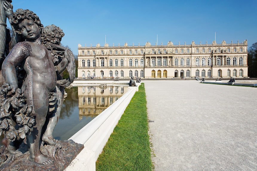 Statue of boy in front of Herrenchiemsee Palace, Bavaria, Germany, Europe