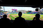 HARTFORD,  CT-071818JS07--Fans watch the the Yard Goat's game against Reading from the concourse level on Wednesday afternoon at Dunkin Donuts Park in Hartford.<br /> Jim Shannon Republican American