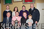 CUP: Time Lane capt of the Tralee Rugby club team who accepted the Garry Giles Exiles Memorial Cup on St Stephens Day at Tralee Rugby Club as his team beat Tralee Exiles by 24pts to 16pts. Front l-r: Lesley Benner (president Tralee Rugby Club), Tim Lane (capt) Daniel and Billy Giles. Back l-r: Robert Durran(capt Tralee exiles), Grace O'Donnell, Adrian Grey(Chairman) and Jay Galvin (director Tralee rugby).  .. ....