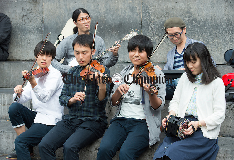 Japanese group Taro playing at The Height  during Fleadh Cheoil na hEireann in Ennis. Photograph by John Kelly.