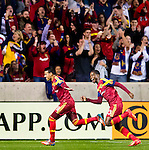 Real Salt Lake midfielder Javier Morales (11) celebrates his goal against Philadelphia Union as Real Salt Lake forward Olmes Garcia (13) follows in the first half Saturday, March 14, 2015, during the Major League Soccer game at Rio Tiinto Stadium in Sandy, Utah. (© 2015 Douglas C. Pizac)