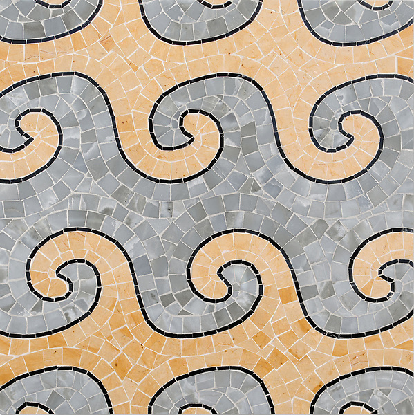 Wimbi, a hand-cut stone mosaic, shown in polished Pacifica, Renaissance Bronze, and Nero Marquina. Designed by Joni Vanderslice as part of the J. Banks Collection for New Ravenna.