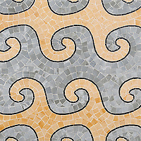 Wimbi, a hand-cut stone mosaic, shown in polished Pacifica, Renaissance Bronze, and Ner Marquina. Designed by Joni Vanderslice as part of the J. Banks Collection for New Ravenna.