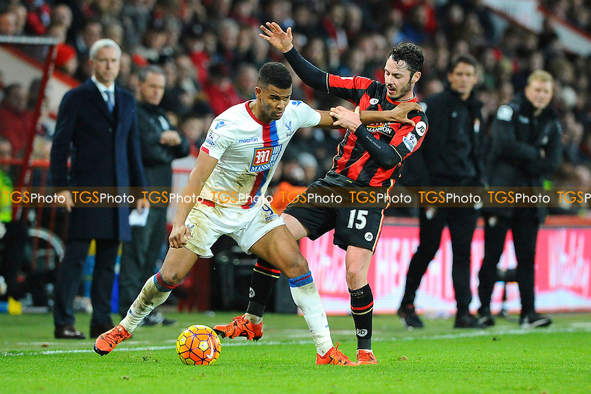Fraizer Campbell of Crystal Palace holds off Adam Smith of AFC Bournemouth during AFC Bournemouth vs Crystal Palace at the Vitality Stadium