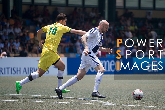 Wallsend Boys Club (in yellow) vs HKFC Masters (in white) during their Masters Tournament Cup Semi-Final match, part of the HKFC Citi Soccer Sevens 2017 on 28 May 2017 at the Hong Kong Football Club, Hong Kong, China. Photo by Chris Wong / Power Sport Images