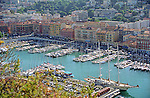 Overview of the old harbor (Vieux Port) of Nice, France.