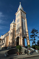 Built in 1931, Dalat cathedral is the largest church in the city of Dalat..It is known as the rooster church because on the top of the tower was placed a bronze rooster weathervane.  The cathedral numerous stained glass windows, which were hand made in Grenoble, France by the Louis Balmet workshop.