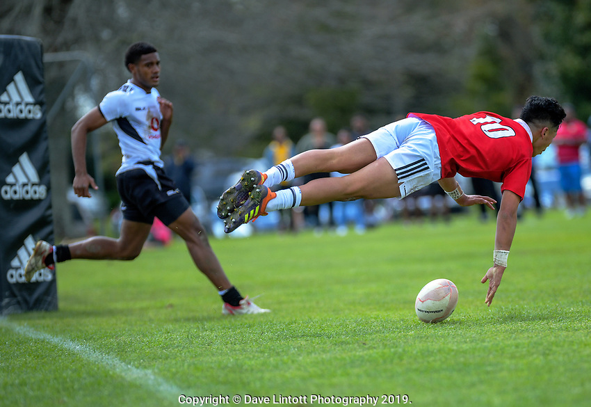 Lattrell Smiler-Ah Kiong scores during the rugby union match between New Zealand Schools Barbarians and Fiji Schools at St Paul's Collegiate in Hamilton, New Zealand on Friday, 4 October 2019. Photo: Dave Lintott / lintottphoto.co.nz