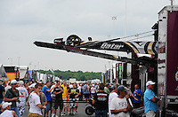 Jun. 1, 2012; Englishtown, NJ, USA: The car of NHRA top fuel dragster driver Shawn Langdon is unloaded from the hauler in the pits during qualifying for the Supernationals at Raceway Park. Mandatory Credit: Mark J. Rebilas-