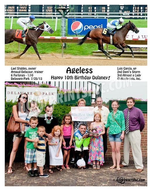 Happy Birthday Dulaney!  Ageless winning at Delaware Park on 7/27/13