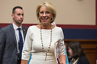 United States Secretary of Education Betsy Devos arrives to testify on her department's fiscal year 2020 budget before the US House Committee on Education and Labor on Capitol Hill in Washington, DC on April 10, 2019. Photo Credit: Stefani Reynolds/CNP/AdMedia