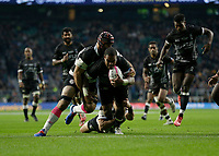 16th November 2019; Twickenham, London, England; International Rugby, Barbarians v Fiji; John Dyer of Fiji goes over to score a try - Editorial Use