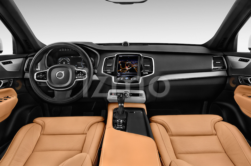 Stock photo of straight dashboard view of 2015 Volvo XC90 Inscription7 5 Door SUV Dashboard