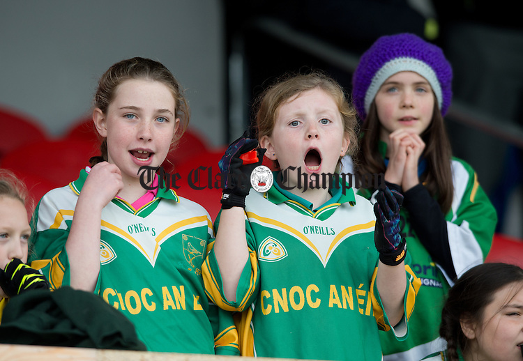 Knockanean fans cheer on their team at the Cumann na mBunscoil Finals at Cusack Park. Photograph by John Kelly.