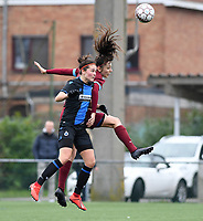20200208 – BRUGGE, BELGIUM : Club Brugge's Charlotte Laridon pictured in a duel with Genk's Amber Tysiak during a women soccer game between Dames Club Brugge and KRC Genk Ladies on the 15 th matchday of the Belgian Superleague season 2019-2020 , the Belgian women's football  top division , saturday 08 th February 2020 at the Jan Breydelstadium – terrain 4  in Brugge  , Belgium  .  PHOTO SPORTPIX.BE | DAVID CATRY