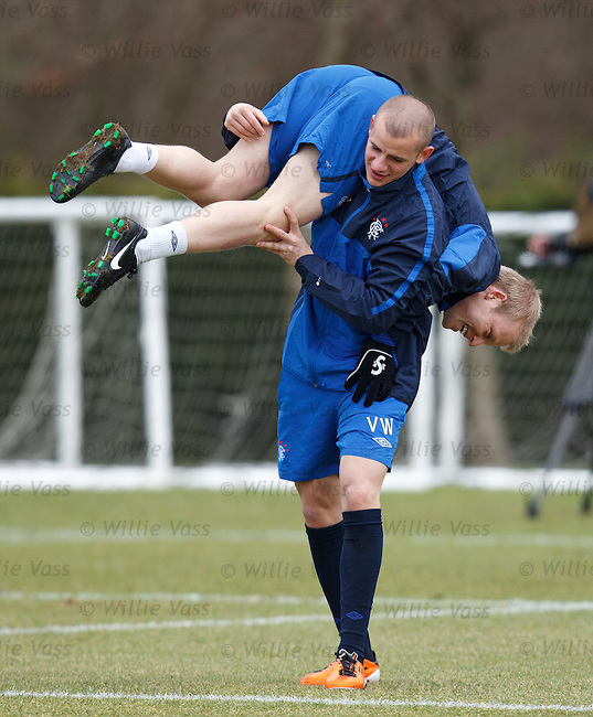 Vladimir Weiss and Steven Naismith lark around at training