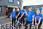 Enjoying the peddle on the bike raising funds for Pieta House at Nolans Garage on Saturday morning. <br /> L-r, Julie Conway, Con O&rsquo;Connor (Pieta House), Dan Healy (Listellick).  Niall Nolan (Nolan Garage) and Emma Healy from Listellick