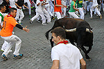 Second bull runing of San Fermin at Pamplona, with bulls of the ranch of Cebada Gago. July 08, 2016. (ALTERPHOTOS/Rodrigo Jimenez)