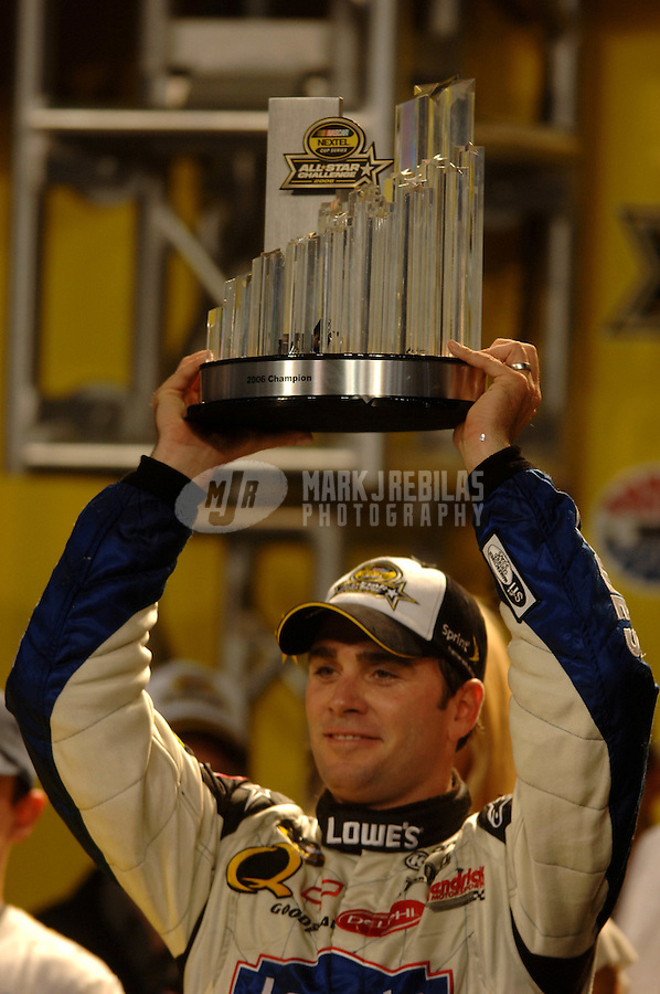 May 20, 2006; Charlotte, NC, USA; Nascar Nextel Cup driver Jimmie Johnson (48) celebrates after winning the Nextel All Star Challenge at Lowes Motor Speedway. Mandatory Credit: Mark J. Rebilas