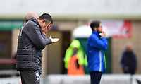 Chesterfield manager Jack Lester reacts during the game<br /> <br /> Photographer Chris Vaughan/CameraSport<br /> <br /> The EFL Sky Bet League Two - Lincoln City v Chesterfield - Saturday 7th October 2017 - Sincil Bank - Lincoln<br /> <br /> World Copyright &copy; 2017 CameraSport. All rights reserved. 43 Linden Ave. Countesthorpe. Leicester. England. LE8 5PG - Tel: +44 (0) 116 277 4147 - admin@camerasport.com - www.camerasport.com