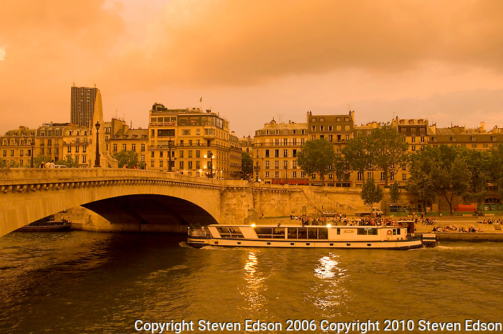 River boat on the Seine River in Paris, France