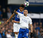 Mason Holgate of Everton  in action with Islam Slimani of Leicester City during the English Premier League match at Goodison Park Stadium, Liverpool. Picture date: April 9th 2017. Pic credit should read: Simon Bellis/Sportimage