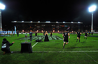 The teams run out for the Rugby Championship match between the NZ All Blacks and Argentina Pumas at Yarrow Stadium in New Plymouth, New Zealand on Saturday, 9 September 2017. Photo: Dave Lintott / lintottphoto.co.nz