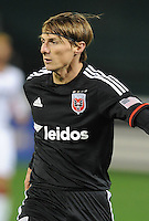 Washington, D.C.- March 29, 2014. Chris Rolfe (18) of D.C. United. D.C. United defeated the New England Revolution 2-0 during a Major League Soccer Match for the 2014 season at RFK Stadium.