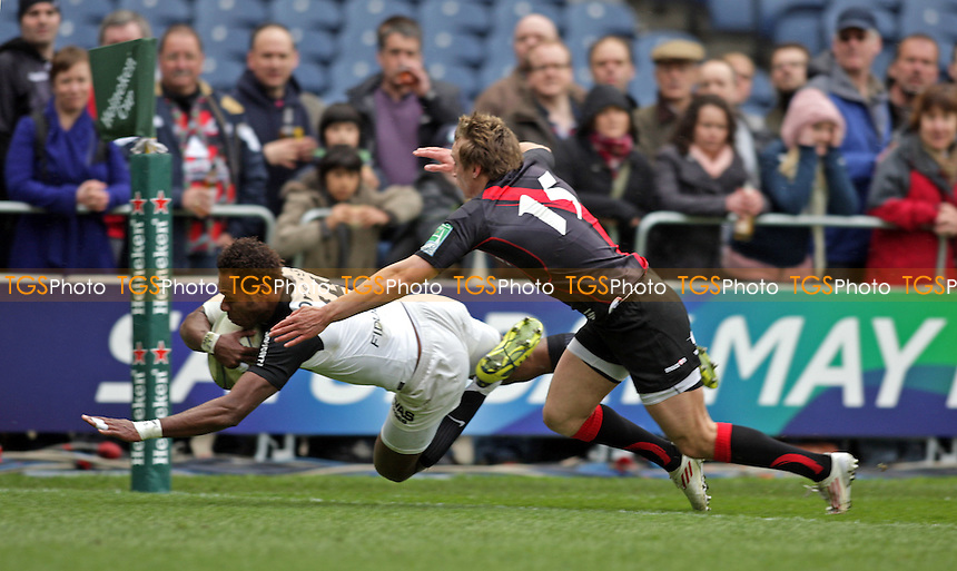 Timoci Matanavou  of Toulouse scores Toulouse's first try - Edinburgh Rugby vs Toulouse - Heineken Cup Quarter-Final Rugby at Murrayfield Stadium - 07/04/12 - MANDATORY CREDIT: Helen Watson/TGSPHOTO - Self billing applies where appropriate - 0845 094 6026 - contact@tgsphoto.co.uk - NO UNPAID USE.