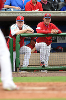Philadelphia Phillies coaches Mike Schmidt and Ryne Sandberg during a Spring Training game against the New York Yankees on March 27, 2015 at Bright House Field in Clearwater, Florida.  New York defeated Philadelphia 10-0.  (Mike Janes/Four Seam Images)