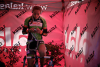 Sophie de Boer (NLD) warming up on the rollers<br /> <br /> Koppenbergcross 2014