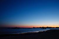 Newport, Ri - Goosebery beach on a tranguil evening as sunset fades and dusk settles