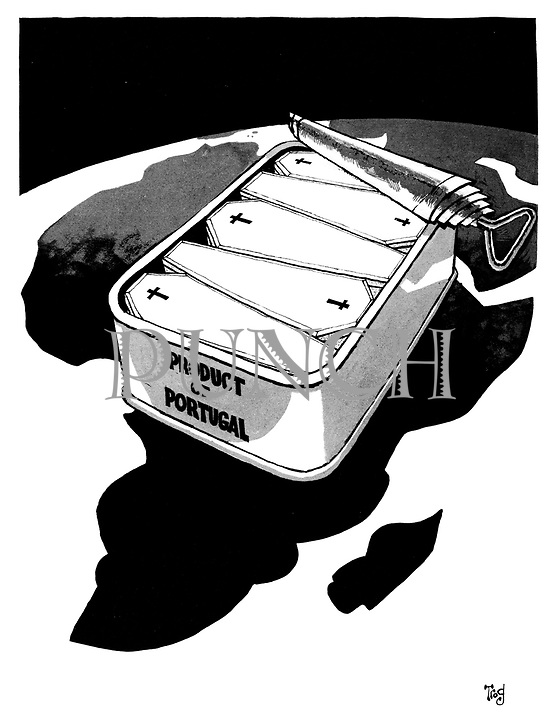 (Coffins packed into a sardine can marked 'Product of Portugal' lying across the African continent during the Portuguese Colonial War)