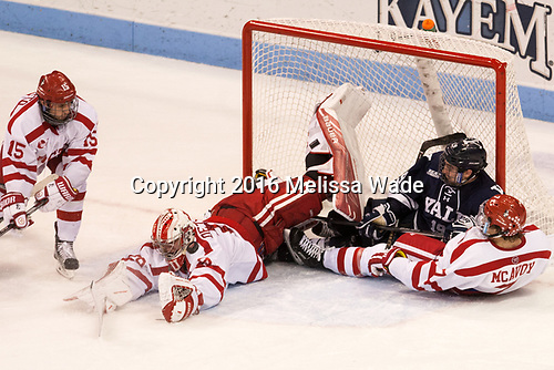 Nick Roberto (BU - 15), Jake Oettinger (BU - 29), Ted Hart (Yale - 19), Charlie McAvoy (BU - 7) The Boston University Terriers defeated the visiting Yale University Bulldogs 5-2 on Tuesday, December 13, 2016, at the Agganis Arena in Boston, Massachusetts.