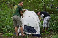 Participants pitch a tent in the bushes on Sziget festival held in Budapest, Hungary on August 07, 2011. ATTILA VOLGYI