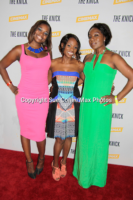 Nic ForReel & Delaina Dixon (also The Gossip Table) and Maureen Tokeson-Martin (all - Diva Gals Daily) at The Knick - on Cinemax - premiering Aug 8, 2014 - starring Andre Holland, Leon Addison Brown, David Fierro and more on July 23, 2014 at NY Academy of Medicine , New York City, New York.  (Photo by Sue Coflin/Max Photos)