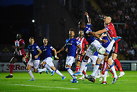 Lincoln City's Jason Shackell vies for possession with Everton's Djibril Sidibe<br /> <br /> Photographer Chris Vaughan/CameraSport<br /> <br /> The Carabao Cup Second Round - Lincoln City v Everton - Wednesday 28th August 2019 - Sincil Bank - Lincoln<br />  <br /> World Copyright © 2019 CameraSport. All rights reserved. 43 Linden Ave. Countesthorpe. Leicester. England. LE8 5PG - Tel: +44 (0) 116 277 4147 - admin@camerasport.com - www.camerasport.com