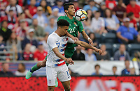 Chester, PA - Monday May 28, 2018: Antonee Robinson, 	Héctor Ronaldo Sánchez during an international friendly match between the men's national teams of the United States (USA) and Bolivia (BOL) at Talen Energy Stadium.