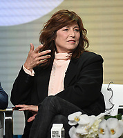 "BEVERLY HILLS - AUGUST 2: Catherine Keener onstage during the ""Kidding"" panel at the Showtime portion of the Summer 2019 TCA Press Tour at the Beverly Hilton on August 2, 2019 in Los Angeles, California. (Photo by Frank Micelotta/PictureGroup)"