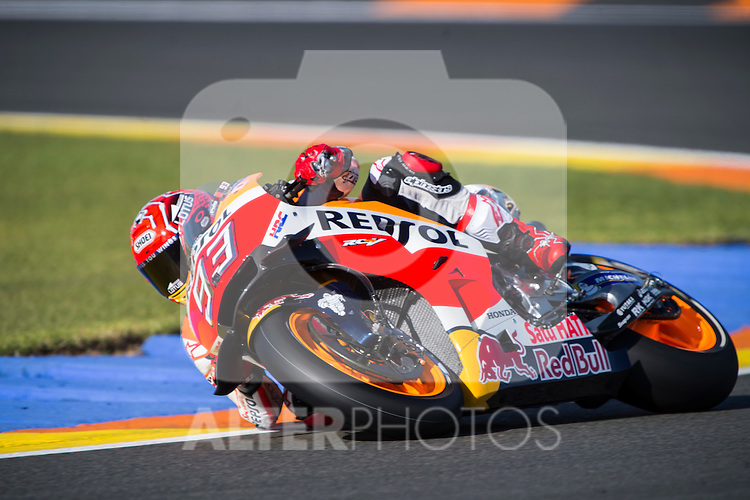 VALENCIA, SPAIN - NOVEMBER 11: Marc Marquez during Valencia MotoGP 2016 at Ricardo Tormo Circuit on November 11, 2016 in Valencia, Spain
