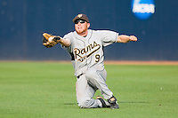 Right fielder John Lenherr #9 of the VCU Rams makes a sliding catch against the Virginia Cavaliers at the Charlottesville Regional of the 2010 College World Series at Davenport Field on June 4, 2010, in Charlottesville, Virginia.  The Cavaliers defeated the Rams 14-5.  Photo by Brian Westerholt / Four Seam Images