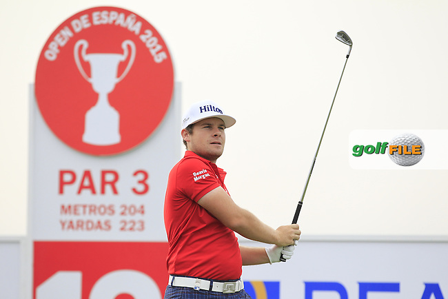 Tyrol Hatton (ENG) on the 13th tee during Round 1 of the Open de Espana  in Club de Golf el Prat, Barcelona on Thursday 14th May 2015.<br /> Picture:  Thos Caffrey / www.golffile.ie