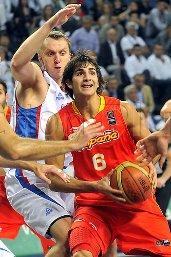 Sep 08, 2010; Istanbul, TURKEY; Serbia defeats Spain 92:89 in a quarterfinal match of the 2010 FIBA World Championship at the Abdi Ipekci Arena. Ricky Rubio of Spain.