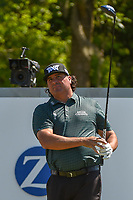 Pat Perez (USA) watches his tee shot on 18 during Round 1 of the Zurich Classic of New Orl, TPC Louisiana, Avondale, Louisiana, USA. 4/26/2018.<br /> Picture: Golffile | Ken Murray<br /> <br /> <br /> All photo usage must carry mandatory copyright credit (&copy; Golffile | Ken Murray)