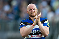 Matt Garvey of Bath Rugby thanks the crowd after the match. Aviva Premiership match, between Bath Rugby and London Irish on May 5, 2018 at the Recreation Ground in Bath, England. Photo by: Patrick Khachfe / Onside Images