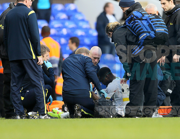Tottenham's Danny Rose receives oxygen after the final whistle<br /> <br /> - Barclays Premier League - Tottenham Hotspur vs Stoke City- White Hart Lane - London - England - 9th November 2014  - Picture David Klein/Sportimage
