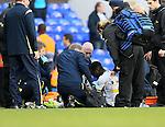 Tottenham's Danny Rose receives oxygen after the final whistle<br /> <br /> - Barclays Premier League - Tottenham Hotspur vs Stoke City- White Hart Lane - London - England - 9th November 2014  - Picture David Klein/Sportimage