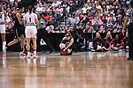 DALLAS, TX - MARCH 31:  Karlie Samuelson #44 of the Stanford Cardinal gets injured during the 2017 Women's Final Four at American Airlines Center on March 31, 2017 in Dallas, Texas. (Photo by Justin Tafoya/NCAA Photos via Getty Images)